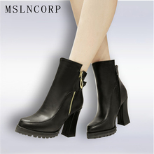 Size 34-45 Autumn Winter Zipper Women boots Platform High heels Ladies Rivet Martin Leather boots Square heel Snow Boots Shoes