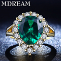 wholesale yellow gold plated ring for women with Vintage turquoise green AAA Zircon for wedding rings jewelry LSR201