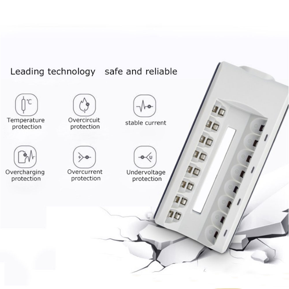 8 Slots Smart Battery Charger With Wired LED Light Quick Charger For NI-MH NI-CD AA AAA Rechargeable Batteries P10 GDeals