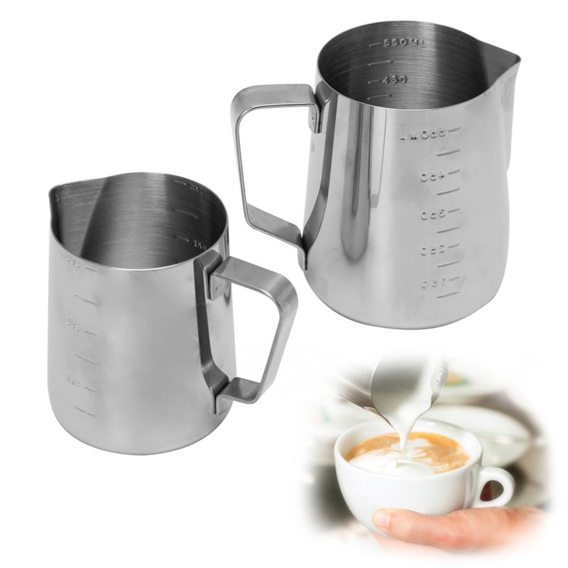 MEXI Stainless Steel Coffee Frothing Milk Latte Jug Fancy Foam Cup Pitcher Coffee Maker Pot Kettle 350/550ml eupa stainless steel 500ml espresso coffee latte art cylinder pitcher barista craft latte milk frothing jug household