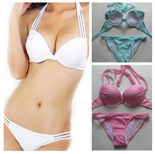 2016 halter top 2Pcs New hot swim bikinis set Bandeau Top+Bottom Push Up Sexy women Bikini Swimwear Beachwear swimsuit S/M/L/XL