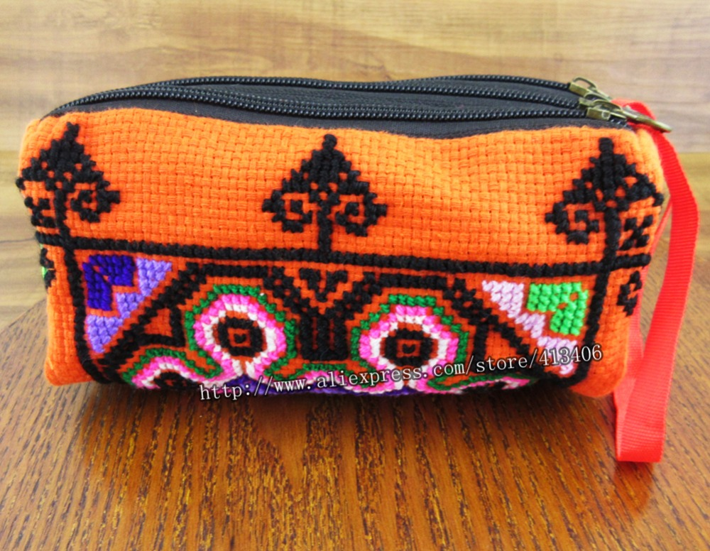 3-layer Wristlet bag vintage Hmong Thai Indian bolsa bordada Monedero de embrague de moda Boho Hippie Ethnic bolso cosmético SYS-438R