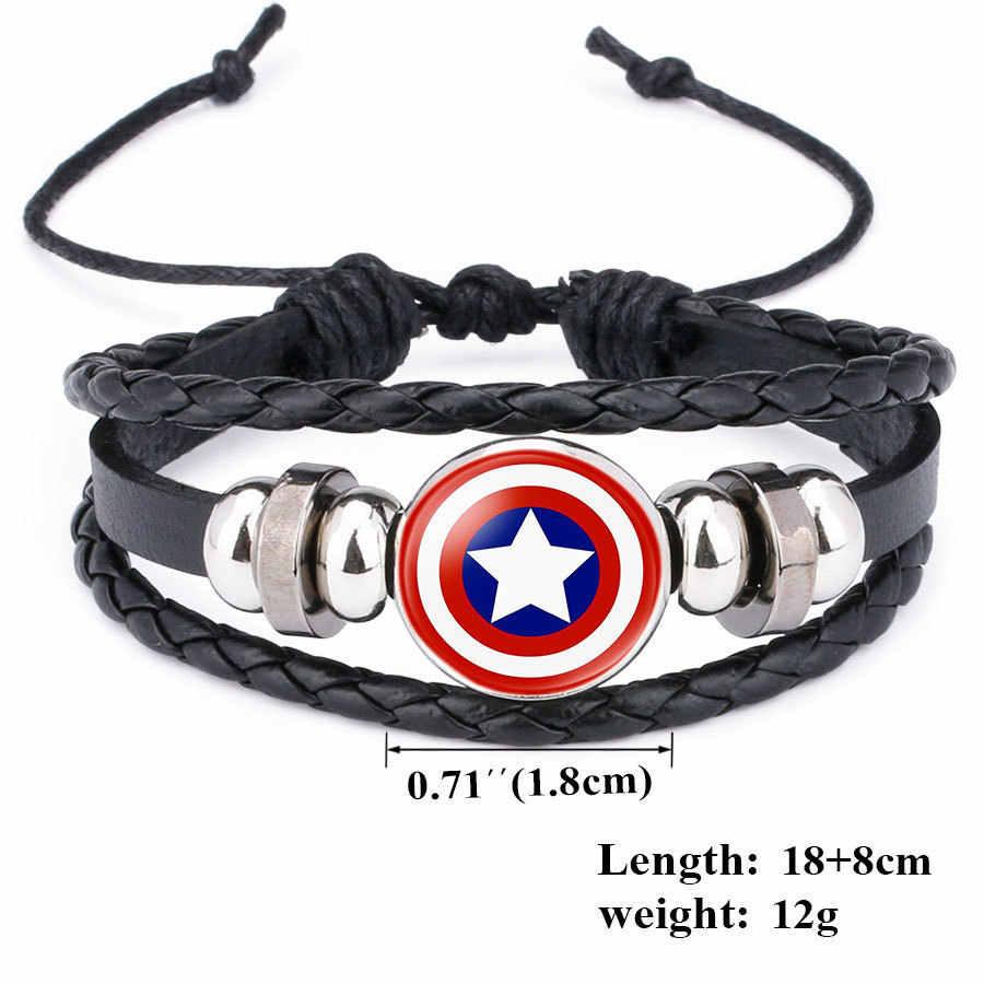 Spider-Man Iron Man Superman pulsera América Super héroe superhéroe es Batman pines joyería moda mujer encantos cuero pulseras
