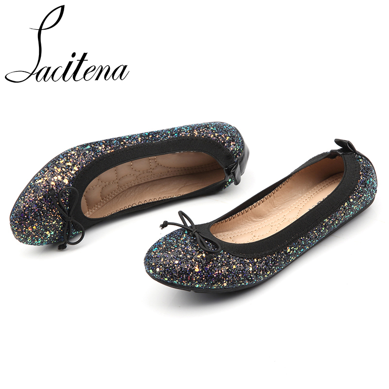 a4d598a06 Black Gold Round Toe Flats Women Comfortable Butterfly Knot Shoes Dazzle Bling  Casual Flats-in Women s Flats from Shoes on Aliexpress.com