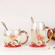 Красивые цветные эмалы стеклянные чашки с ложкой термостойкие Цветочные Стильные стеклянные кружки SH335-900