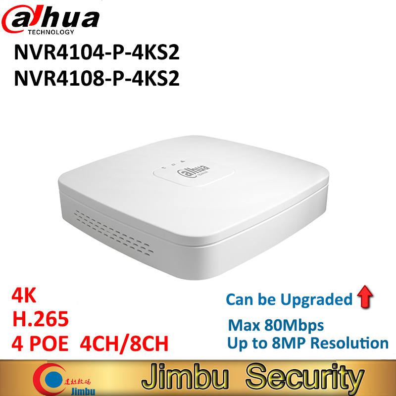 Dahua 4K NVR NVR4104-P-4KS2 NVR4108-P-4KS2 H.265 Video Recorder P2P 4Ch 8Ch 4PoE port Up to 8MP Resolution can be upgrade 2014 new arrival dahua smart 1u nvr with p2p mini nvr nvr4104 nvr4108 nvr4116 free dhl shipping