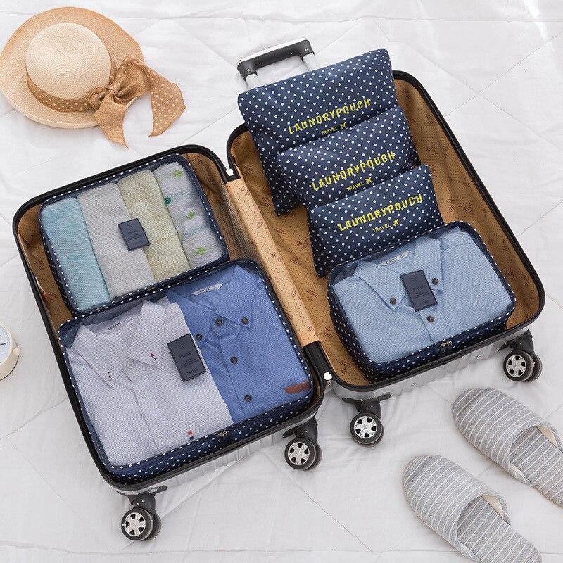 6PCS/SET Clothes Storage Organization Travel Set Suitcase Shoe Lingerie Cosmetic Divider Bag Home Closet Organizer Accessories