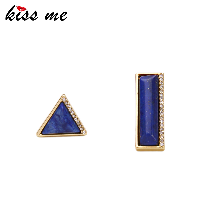 Kiss me marca asimetría azul piedra natural pendientes de joyería de moda nuevo