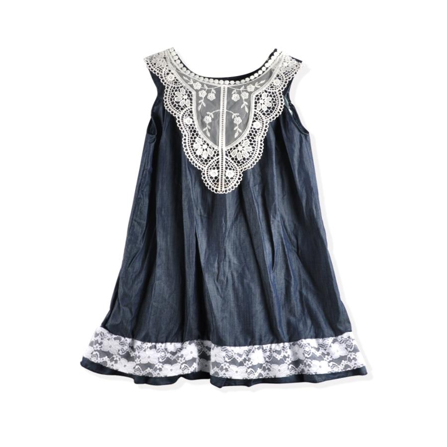 Новая мода 2018 для маленьких девочек сезон: весна–лето платье Прекрасная принцесса джинсовые Кружево сарафан Детские платья для девочек dx039