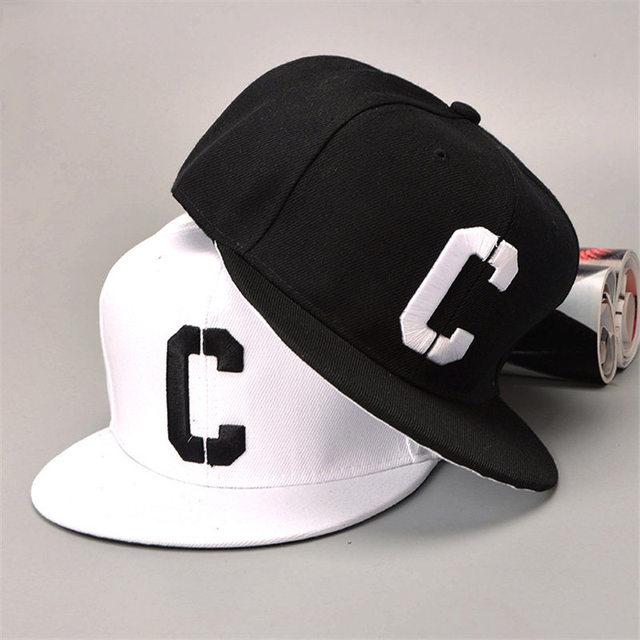 TIMESWOOD  Embroidery C Snapbacks Hats Letter Baseball Caps Black White  Hip Hop Brim Straight Hat Color Summer Mens Womense af03e7186e0