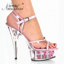 6 Inch High Heels Sexy Crystal Open Toe Sandals Flower Full Transparent 15cm Model Wedding Pole dancing High-Heeled Shoes Pink