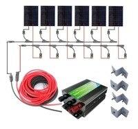 USA EU Stock No Tax No Duty 1KW Solar Panel Complete Kit 1000W 6 180W Solar