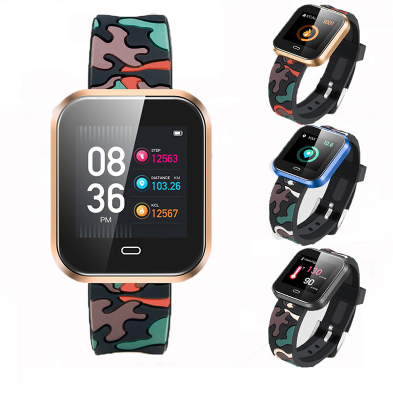 New Sports Smart Watch Blood Pressure Heart Rate Monitor Pedometer Stopwatch Fitness Smartwatch APP Connect IOS