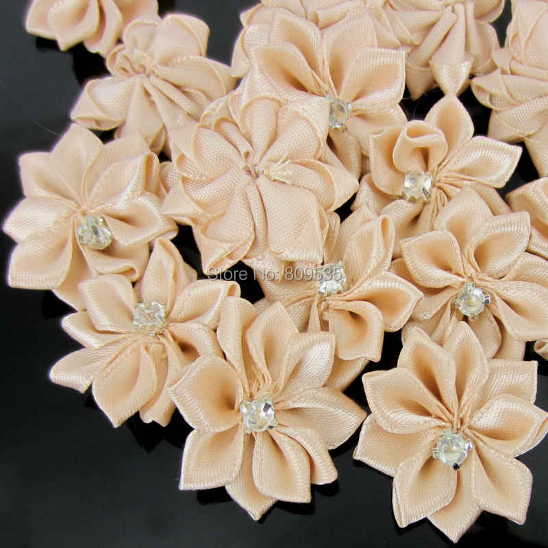 Detail Feedback Questions about 40Pcs Ivory Handmade Small Fabric Satin  Flowers with Rhinestone Appliques Sewing Wedding Garment Accessories Flowers  2.8cm ... 4f74f5a0a9d3