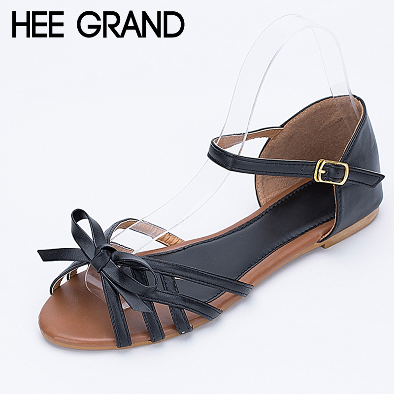 HEE GRAND Gladiator Sandals Bowtie Summer Style Buckle Platform Sandals Casual Flats Shoes Woman 3 Colors size 36-41 XWZ1738 hee grand lace up gladiator sandals 2017 summer platform flats shoes woman casual creepers fashion beach women shoes xwz4085
