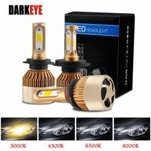 DARKEYE H1 LED H4 H11 H7 9005 9006 H8 H3 H9 880 9007 자동차 헤드 라이트 전구 60W 8000LM 6500K 4300K 8000K 3000K COB led 램프 2PCS