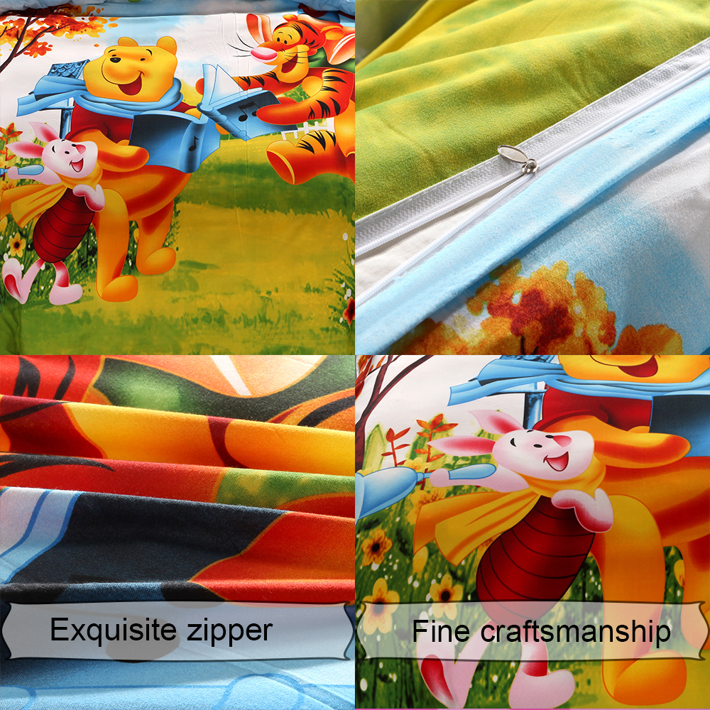 Image 3 - Disney Cartoon Kids Bedclothes Winnie Pooh Piglet Tigger  Comforters Sheet Bedding Set Queen Size Girls Bedding Duvet Cover  SetBedding Sets