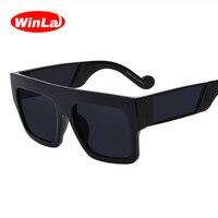 Winla Sunglasses Square Sun Glasses Fashion Flat Top Sun Glasses Women Original Brand Designer Unisex Mirrored