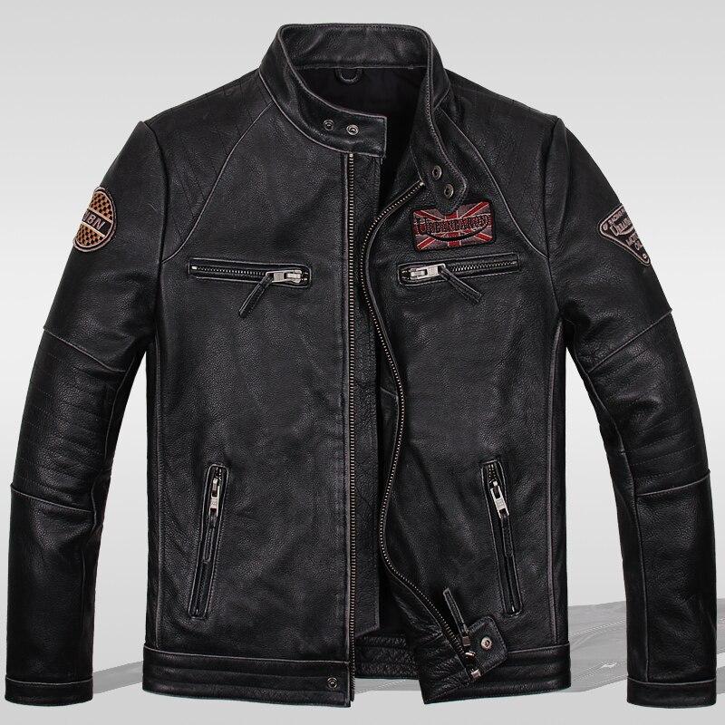 Leggere la Descrizione! Formato asiatico motociclista giacca di pelle, vintage mens genuino giacca di pelle, cappotto di pelle sottile