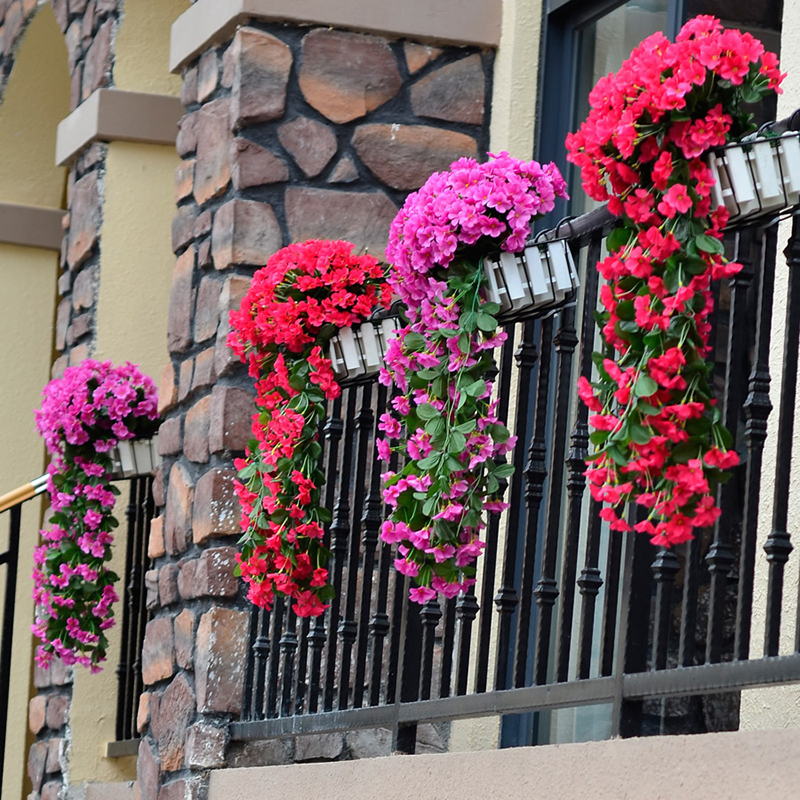 Nuova decorazione di fiori artificiali viola Simulazione di San Valentino Wedding Wall Hanging Basket Flower Orchid Silk Flower Vine