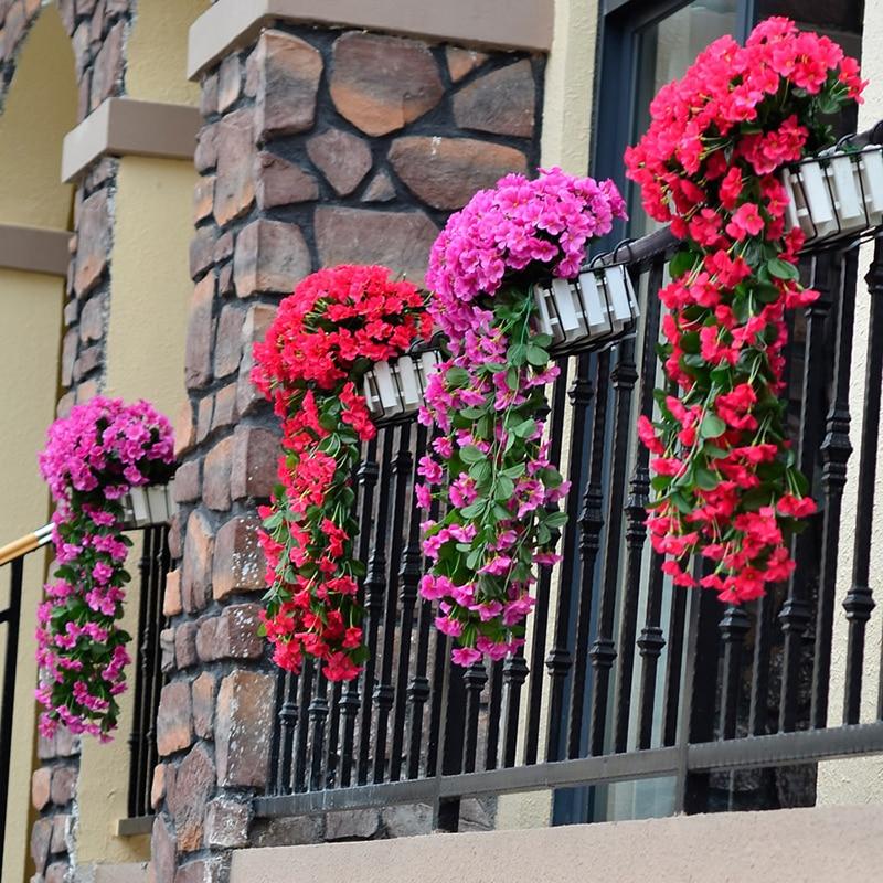ใหม่สีม่วงดอกไม้ประดิษฐ์ตกแต่งจำลองวันวาเลนไทน์แต่งงานแขวนผนังตะกร้าดอกไม้กล้วยไม้ผ้าไหมดอกไม้เถา