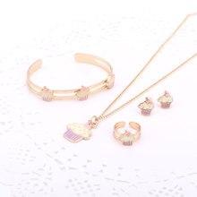 Fashion Girl Lovely Crystal Ice-Cream Children Jewelry Set