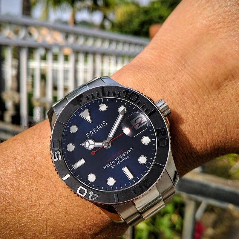 PARNIS 40mm מכאני אוטומטי גברים של שעון Miyota 8215 לוח נירוסטה בנד גברים שעונים relojes para automaticos 2019-בשעונים מכניים מתוך שעונים באתר