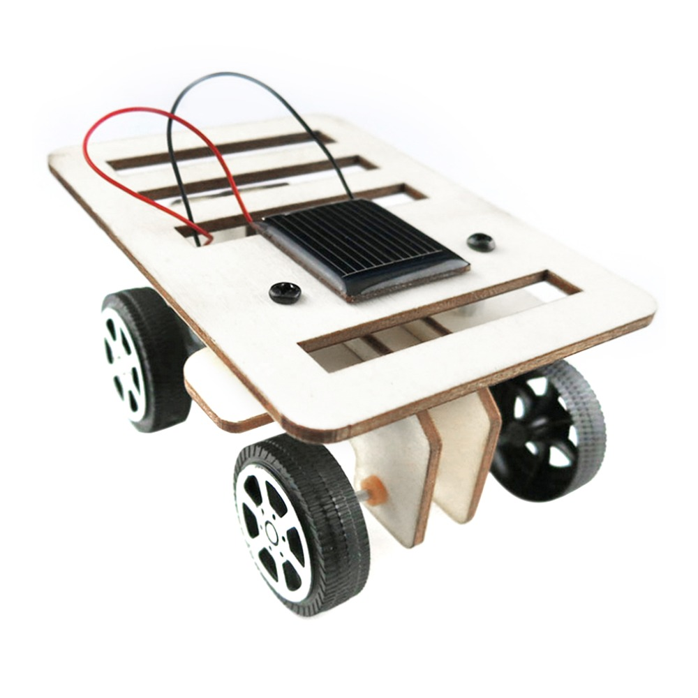 new arrival self assembly diy mini wooden car model solar powered kit children educational toy gift