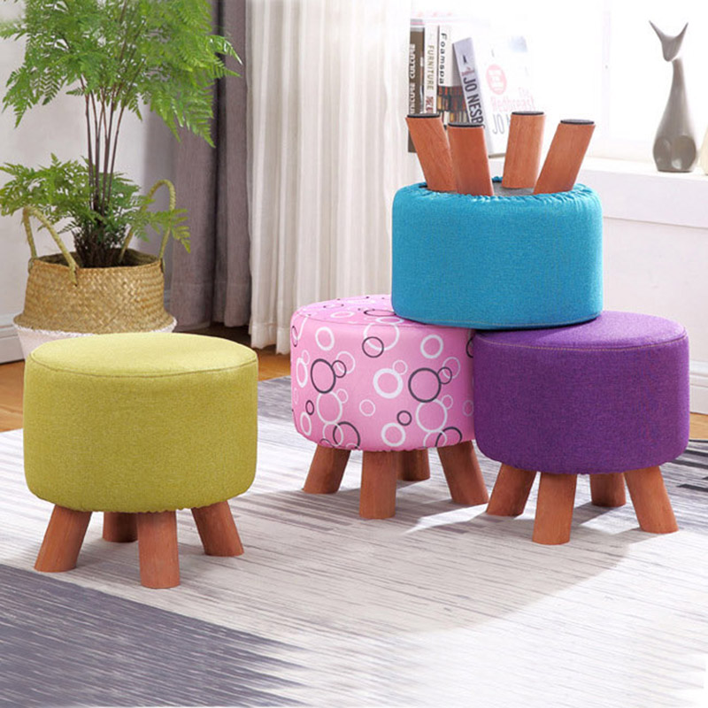 Fashion low cloth sofa round stool change shoe stool solid wood detachable cloth ottoman sets kids Home Furniture 4 legs excellent quality simple modern stools fashion fabric stool home sofa ottomans solid wood fine workmanship chair furniture