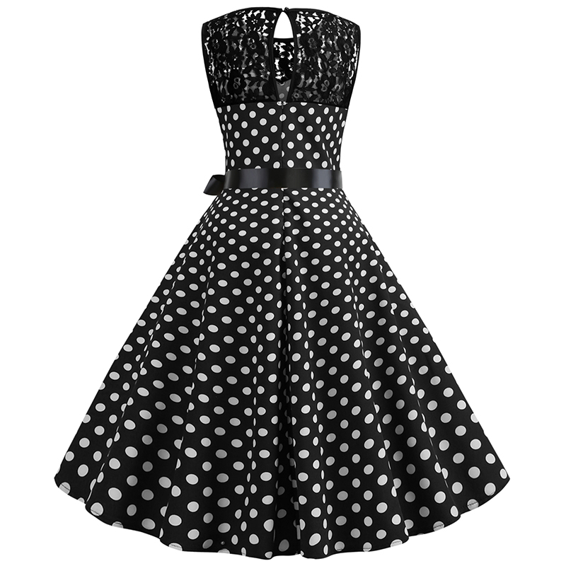 Women Summer Lace Vintage Dress Black Polka Dot Sexy O-neck Beach Dresses Fashion Casual Big Swing Party Robe Plus Size 3