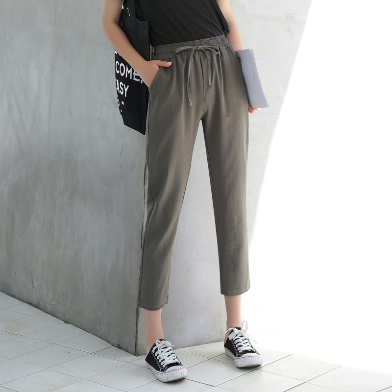 Silk Linen Woman Summer New Pattern Thin All-match Nine Part Women   Pants     Capris