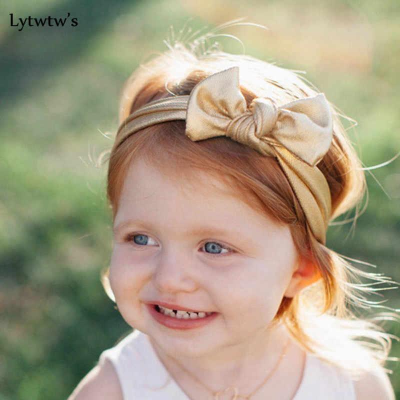 1 Pcs Lytwtw של צבעים בוהקים כיסוי הראש בייבי סרטי ראש בארה 'ב בנות שיער גומייה לשיער Bronzing קשת עניבת תינוקות הראש יילוד