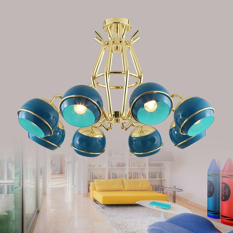 Magasin de vêtements dames boutique 8 têtes lampes suspendues salon de beauté bleu modèle chambre café magasin pendentif lumière ZA8120