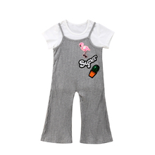 цены Stylish Cute Girls Clothes Set Kid Baby Girl Short Sleeve T-shirt Tops Bell Bottoms Romper Pants Outfits Set 2019