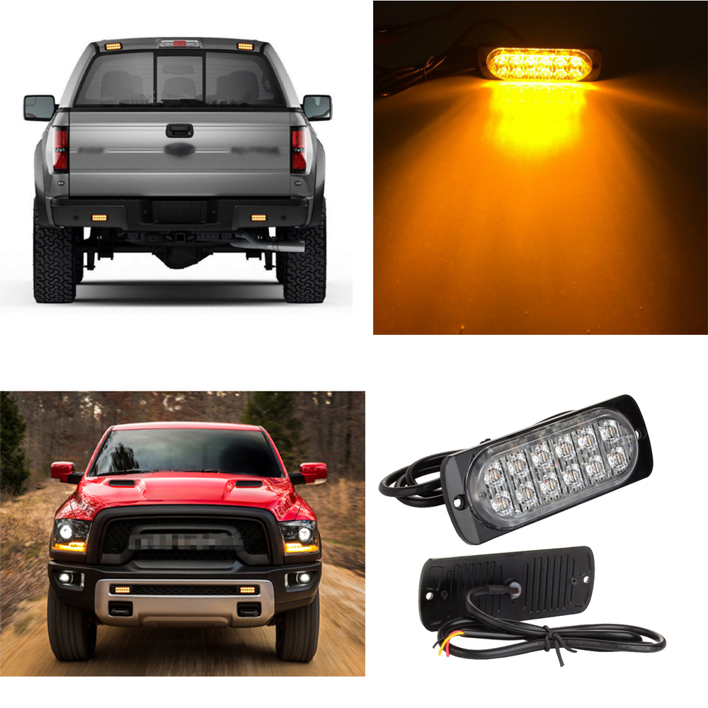 Universal 12led flashing lights 12 24v 36w truck side lights 12led warning lights truck door