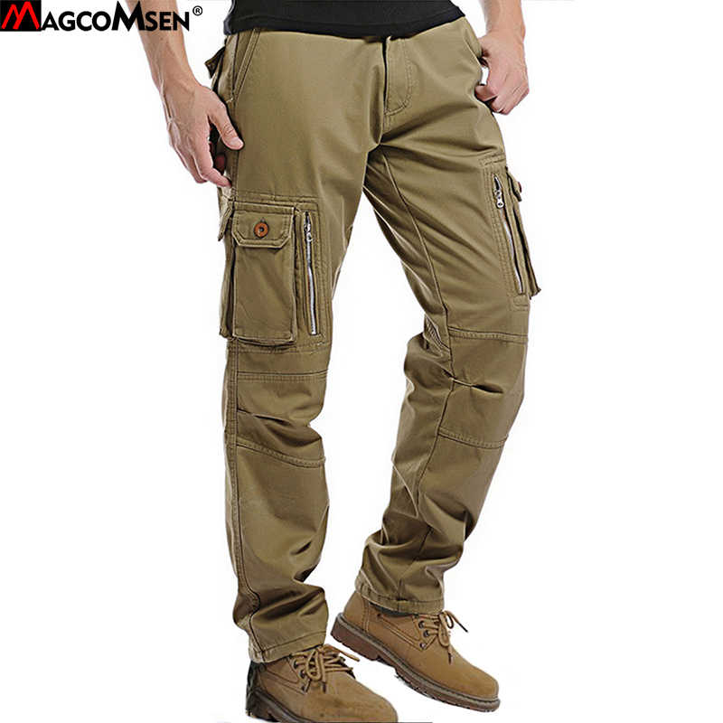 5f59bbb6408f MAGCOMSEN Winter Fleece Cargo Pants Man Multi-Pockets Rip-stop Military  Style Army Tactical