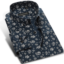 2016 Spring Mens Long-sleeved Slim Fit Floral Print Dress Shirt 100% Cotton Square Collar Light weight Comfort Soft Casual Shirt