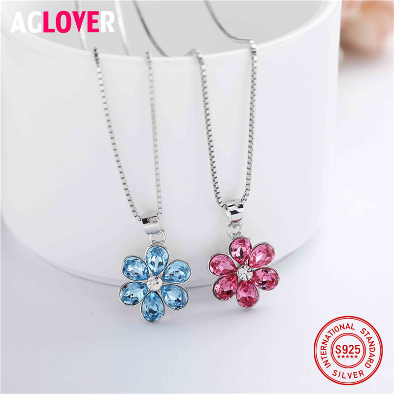 925 Sterling Silver Heart Pendant Necklace with Austria Crystal Flower Shape Women Girl Necklace Jewelry Wholesale Price in Necklaces from Jewelry Accessories