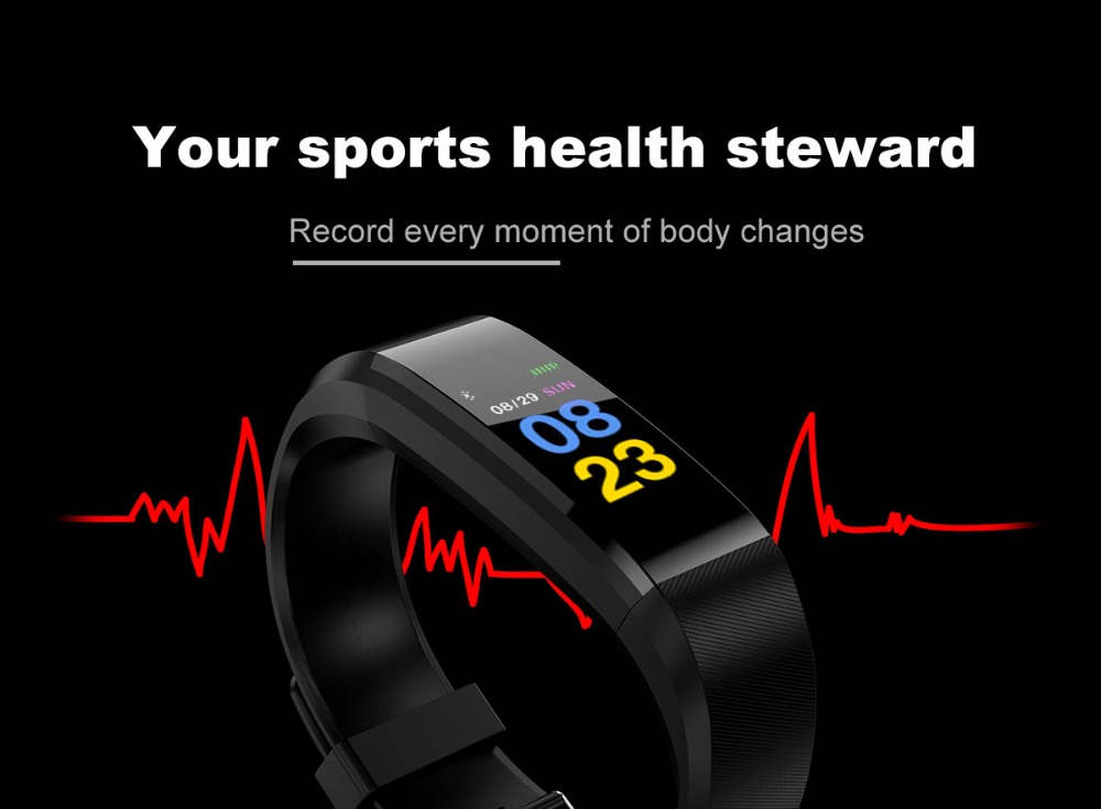 HTB1JMUJL6TpK1RjSZKPq6y3UpXaw 115Plus Bracelet Heart Rate Blood Pressure Smart Band Fitness Tracker Smartband Bluetooth Wristband for fitbits Smart Watch