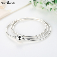 New Authentic 100 925 Sterling Silver Charm Necklace Moments DIY Snake Chain Necklaces Fit Pan Beads