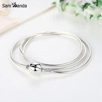 Nueva Auténtico 100% 925 Sterling Silver Charm Collar Momentos DIY Collares Cadena de La Serpiente Fit Pan Perlas de Joyería de Las Mujeres de La Vendimia