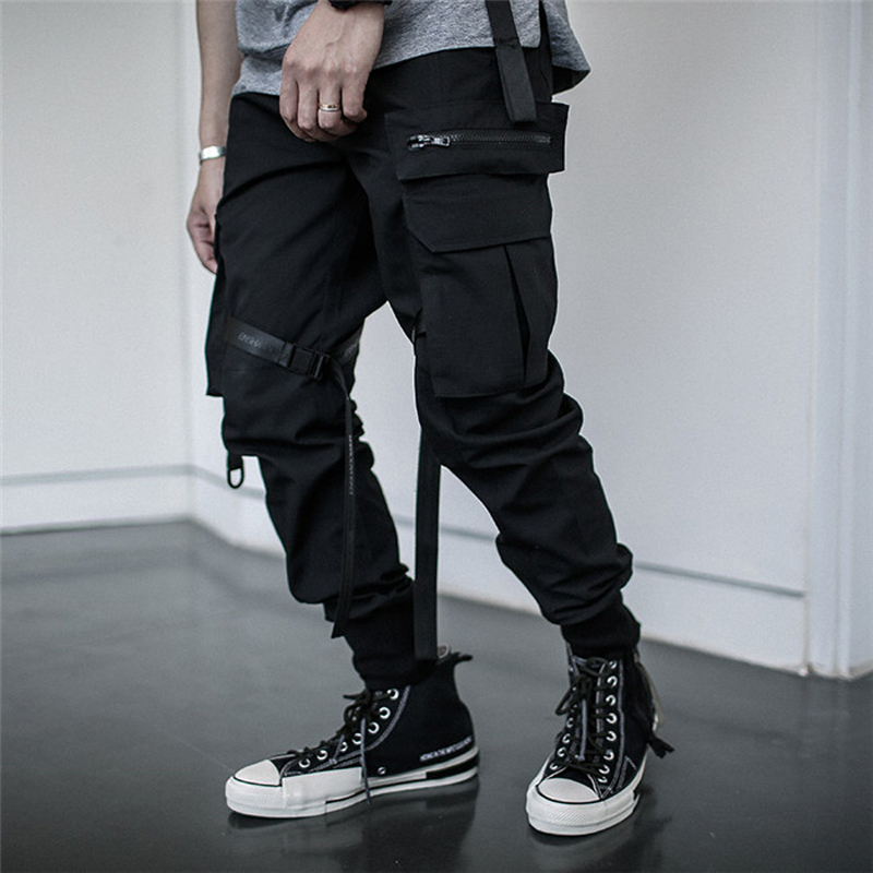 Multi-pocket Hip Hip Streetwear Men's Camouflage Joggers Pants 2019 Men Cotton Ribbon Cargo Pant Trousers Elastic Waist