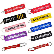 Remove Before Flight Key Chain Red Embroidery customize Keychain Keyring For Aviation Gifts Key Fob Key Tags Label sleutelhanger(China)