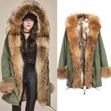 Parka Fur Coat 2017 Long Winter Jacket Women Big Real Fur Raccoon Collar Cuff Natural Rabbit Fur Thick Warm Fur Liner Outerwear