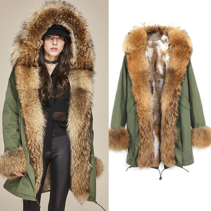 Parka Fur Coat 2017 Long Winter Jacket Women Big Real Fur Raccoon Collar Cuff Natural Rabbit Fur Thick Warm Fur Liner Outerwear printed long raccoon fur collar coat women winter real rabbit fur liner hooded jacket women bomber parka female ladies fp896