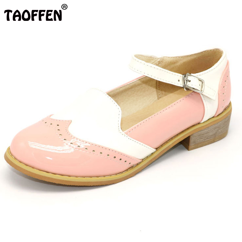 TAOFFEN Women Flats Shoes Lady Low Heels Ankle Strap Shoes Women's Leisure Shoes Round Toe Flat Shoes Party Footwear Size 34-43 taoffen women high heels shoes women thin heeled pumps round toe shoes women platform weeding party sexy footwear size 34 39