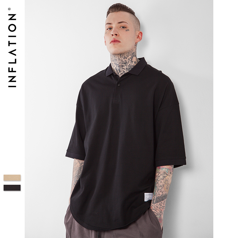 INFLATION 2017 Latest t shirts Turn-down Collar Oversized Mes