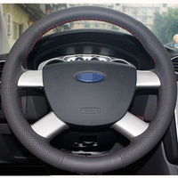 Black Leather Hand Stitched Car Steering Wheel Cover For Ford Kuga 2008 2011 Focus 2