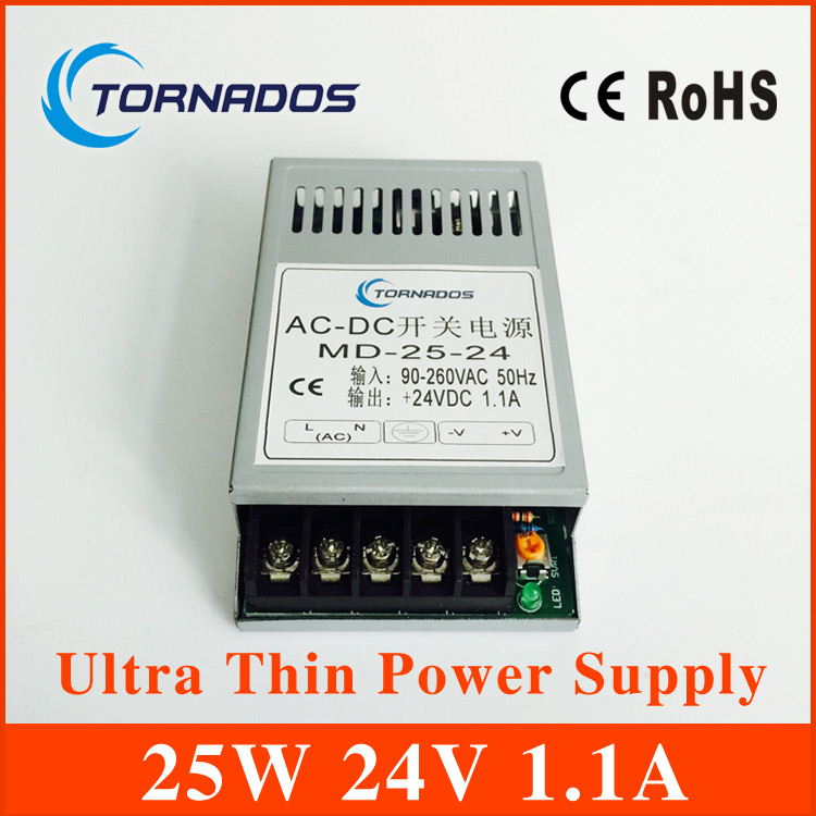 25W 24V Ultra thin Single Output Switching power supply for LED Strip light power source MD-25-24  free shipping china post 20w 24v 1a ultra thin single dc output switching power supply for led strip light smps