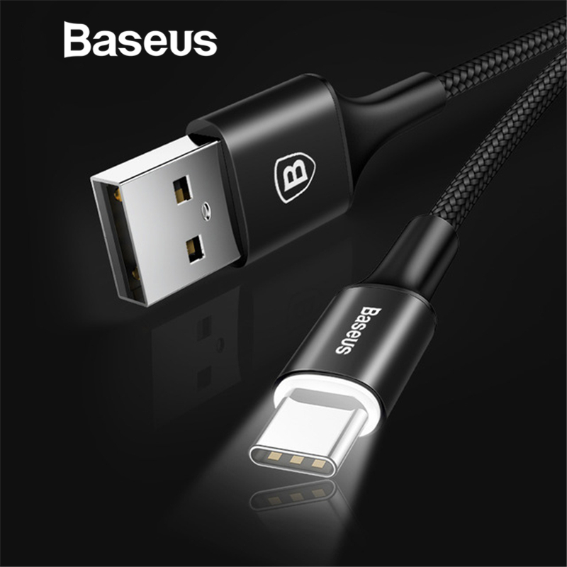 Baseus USB Type C Cable For Samsung Galaxy S9 S8 Note 8 Plus Fast Charging Cable For Xiaomi Mi 5 Oneplus 6 USB Type-C Cable цены онлайн